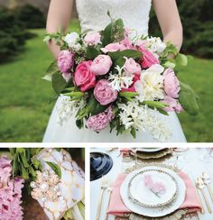 Pink and cream bridal bouquet. See more from this Paris-themed pastel and gold Knoxville wedding inspiration with honeybee details! Design and flowers by @lesleybritt with LB Floral, paper goods by @customlovegifts, linens by @andersonrental, pics by @lisapricephotog | The Pink Bride® www.thepinkbride.com