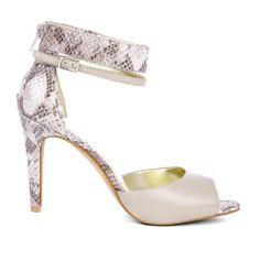 Beige & Snake Ankle Strap Sandal
