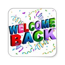 Beautiful welcome back stickers. Streaming confetti falling on colorful block…