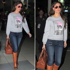 Kareena Kapoor Style.. Fasion, Fashion Boots, Grey Sweatshirt, Graphic Sweatshirt, Bollywood Fashion, Bollywood Style, Kareena Kapoor Khan, Tan Boots, Indian Suits