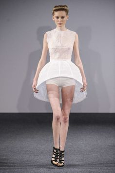 Sculptural Fashion - short white dress with cage skirt design exaggerating the silhouette; 3D fashion // Clarisse Hieraix
