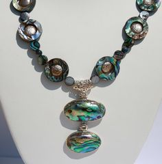 Set - Abalone Pendant Necklace Matching Earrings Pearly Layers Mother of Pearl For Her Mother's Day on Etsy, $149.00