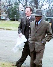 """Alan Rickman as Dr. Alfred Blalock (left) & Mos Def as Vivien Thomas (right), frrom the 2004 movie, """"Something the Lord Made."""""""