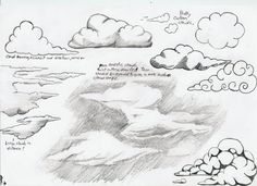 Start by just looking up. Ever since a fellow artist challenged me to include a sky in one of my drawings, I have been keeping my mind in the clouds. I am continually amazed at the beauty of just l… Drawing Sketches, Pencil Drawings, My Drawings, Sketching, Marker Drawings, Cloud Drawing, Painting & Drawing, Drawing Techniques, Art Tutorials