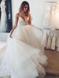 On Sale Sleeveless Dresses Long White Wedding Dresses With Rhinestone Zipper Sweep Train Morden Wedding Dresses