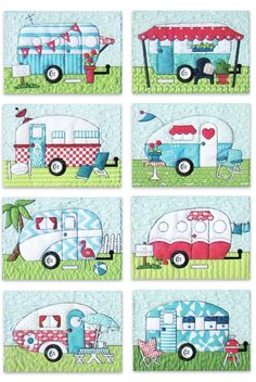 Image applique pattern camper hosted in Life Trends 1 Applique Patterns, Applique Quilts, Applique Designs, Quilt Patterns, Quilting Projects, Sewing Projects, Happy Campers, Quilt In A Day, Creation Couture