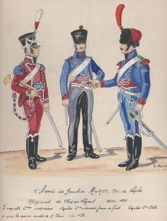 Tromba, cavaliere e cavaliere della compagnia di élite del rgt. cavalleggeri del regno di Murat