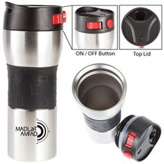 The Secure Vacuum Tumbler Double walled stainless steel vacuum tumbler Leak-resistant, vacuum design Sliding lock functionality Keeps drinks hot for up to 8 hours Fashionable silicone grip Holiday Drinkware, Promo Gifts, Tumbler, Coffee Maker, Stainless Steel, Drinks, 8 Hours, Hospitality, Hot