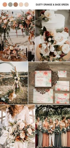 trendy dusty orange and sage green fall wedding color inspiration for 2019 wedding palette 10 Amazing Fall Wedding Colors to Inspire in One Orange Wedding Colors, Fall Wedding Colors, Wedding Color Schemes, Fall Wedding Themes, Color Palette For Wedding, Fall Wedding Inspiration, Cream Wedding Colors, Blush Fall Wedding, October Wedding Colors