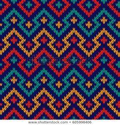Shutterstock koleksiyonunda Knitting seamless geometric vector pattern in red, blue, orange and turquoise colours as a fabric texture Stok Vektörler ve milyonlarca başka telifsiz stok fotoğraf, illüstrasyon ve vektör bulabilirsiniz. Her gün binlerce Tapestry Crochet Patterns, Fair Isle Knitting Patterns, Knitting Charts, Knitting Stitches, Cross Stitch Embroidery, Cross Stitch Patterns, Crochet Purses, Bead Crochet, Vector Pattern