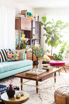 West Elm; Before & After: Bri + Arian's Living Room by Emily Henderson