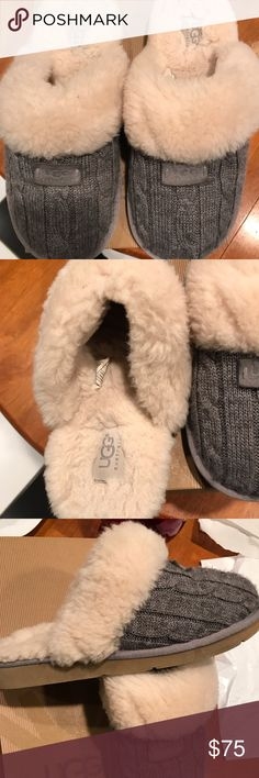 Ugg Slippers Ugg Cozy Knit Slippers heather gray. Like new. UGG Shoes Slippers