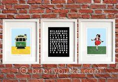 Melbourne Set of 3 Prints - St Kilda Beach - Richmond Melbourne Tram - Tram Destination Roll - Skipping Girl Sign