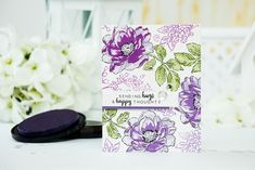 Beautiful Day 6×8 stamp set was used to create the floral background on Yana's beautiful card. This is a stamp layering set and no coloring mediums were used here, just 4 shades of Altenew Crisp inks in Purple (soft lilac, lavender fields, midnight violet, deep iris). Sentiment came from the same stamp set. | Altenew