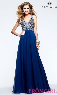 Image of Beaded V-Neck Formal Gown Faviana S7500 Style: FA-S7500 Front Image
