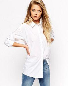 ASOS – Elegante, weiße Boyfriend-Bluse