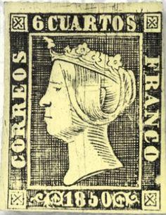 A reproduction of the postal forgery of Spain Scott #1. (erste postalische Fälschung, Spanien #1).  Only one example has  survived of the forgery of the 6-cuarto stamp, the world's first postal forgery.