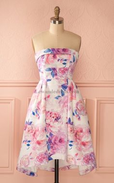 Cinderella Floral Print Sweet 16 Strapless Quinceanera Dress Lewande 56304