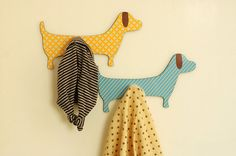 Set of 2 Dogs Hanging Hooks -  Room Home Décor Nursery Wall Decorative Hanger Children. $28.00, via Etsy.