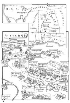 A map of Maycomb in To Kill A Mockingbird by Harper Lee