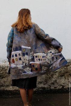 "Купить Валяное пальто ""Зимний город"" - серый, рисунок, валяное пальто, валяная куртка Knit Vest Pattern, Painted Denim Jacket, Felted Wool Crafts, Sewing Trim, Wool Felt, Look, Cool Outfits, Clothes For Women, Valencia"
