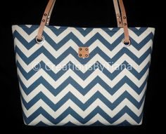Navy Blue Chevron Bag  Purse  Canvas Bags  by CreationsByTiana