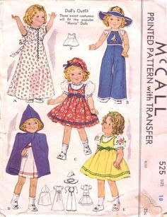"©1937, size 18, McCall 525 with Transfer Doll's Outfit: These sweet costumes will fit the popular ""Movie"" Dolls  Nightgown  Slacks (jumpsuit) and floppy-brimmed hat  Guimpe (a blouse worn under a jumper or pinafore)  Dress (jumper) and beret  Cape and hood  Featured in McCall Style News November 1937: ""We are ready with ideas for Christmas dolls."
