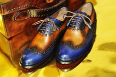 FOR WOMEN : TucciPolo Handmade Wingtip Oxford Style Blue tan Mens Luxury Shoe
