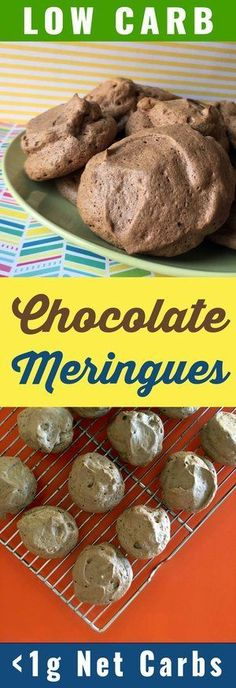 These chocolate meringue cookies have only 9 calories per cookie and less and net carbs. This recipe is Low Carb Keto Paleo Atkins LCHF Sugar Free and Gluten Free. Low Carb Sweets, Low Carb Desserts, Low Carb Recipes, Healthy Sweets, Healthier Desserts, Lunch Recipes, Chocolate Meringue Cookies, Keto Friendly Desserts, Diabetic Friendly