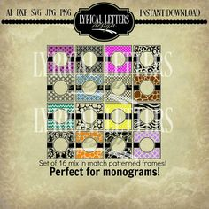 Pattern Squares  Monogram Squares   Vector  by lyricalletters