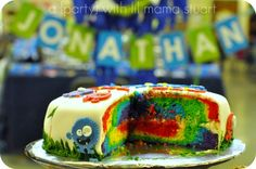 a {day} with lil mama stuart: Monster First Birthday Party: Love the surprise colors inside this silly cake!