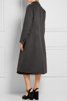Prada - Double-breasted Wool-blend Coat - Charcoal - IT44