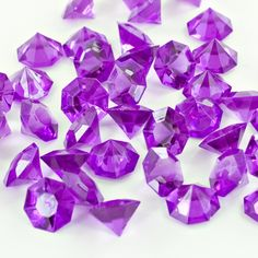 Purple Acrylic Large Flat Top Diamonds Decorative Gems - 3 Cups