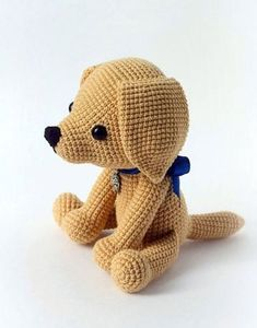 This cute lucky puppy amigurumi is just 15 cm tall. It's a perfect gift for dog lovers. The difficulty range of the Lucky Puppy Amigurumi Pattern is medium. Crochet Amigurumi, Crochet Bear, Amigurumi Doll, Crochet Animals, Crochet Dolls, Crochet Dog Patterns, Amigurumi Patterns, Stuffed Animal Patterns, Stuffed Animals