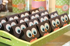 Owl party favors.