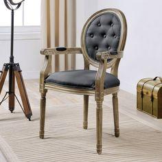 Chaise médaillon avec accoudoirs en polyester et bois LOUISE