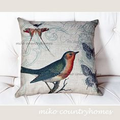 $15 | Throw Pillow Cover | Vintage Illustrations | Wild Birds | 45x45cm, 17x17 | Decorative Pillow Cushions | Nature Illustrations Décor Pillows