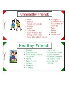Healthy Friend vs Unhealthy Friend Friendship Lessons, Friendship Activities, Teaching Friendship, Friendship Group, Social Skills Activities, Counseling Activities, Healthy Vs Unhealthy Relationships, Social Thinking, Health Lessons