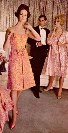 for Jean Allen Fashion House from Elegance 1965 cocktail dress matching coat brocade pink orange models magazine shoes hair mid MCM mid century looks sheath bow 1960s Fashion Women, Sixties Fashion, Retro Fashion, Vintage Fashion, Womens Fashion, Fashion Fashion, Fashion Trends, Vintage Outfits, Vintage Dresses 1960s