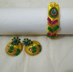 Peacock bangle and earrings
