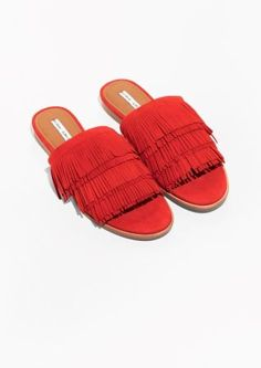 & Other Stories image 2 of Fringe Slip-On Sandals in Red