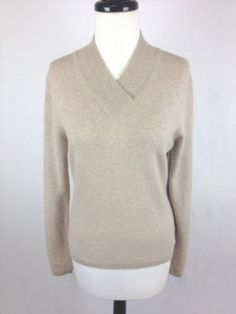 Investments Sweater Cashmere Knit Beige V Neck Luxury Layers Womens Spring M | eBay