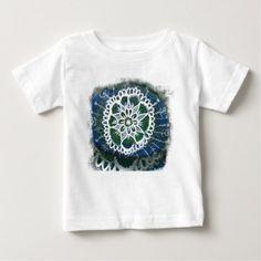 Baby Fine Jersey T-Shirt White mandala - blue gifts style giftidea diy cyo