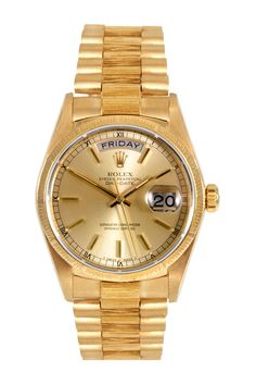 off the Day-Date President with Champagne Dial from Rolex, courtesy of UrbanDaddy Perks. You want a vintage Rolex. You need a vintage Rolex. Breitling Watches, Rolex Watches For Men, Men's Watches, Luxury Watches, Gold Watches, Wrist Watches, Gold Rolex, Men's Rolex, Rolex Datejust