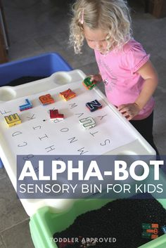 Alphabet Bean Sensory Bin for Toddlers & Preschoolers! This activity is easy to set up. Use your Alpha-Bots or another favorite alphabet toy! Calming Activities, Preschool Learning Activities, Alphabet Activities, Toddler Activities, Literacy Activities, Learning Centers, Preschool Crafts, Toddler Speech, Toddler Preschool