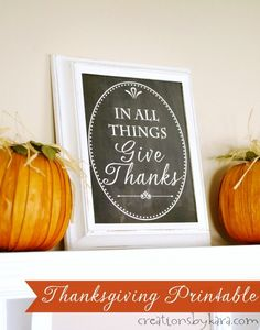 Give Thanks Chalkboard Printable ~ Perfect for fall and Thanksgiving decorating! #fall #freeprintable
