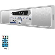 Pyle PLMR7BTW Marine Single-DIN In-Dash Mechless Marine AM/FM Receiver with Built-in Speakers & Bluetooth