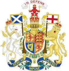 Royal Coat of Arms of the United Kingdom of Great Britain and Northern Ireland in the style used by Queen Victoria, King Edward VII, George V, Edward VIII and George VI (as used only in Scotland).