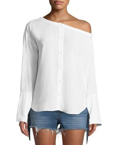 Get free shipping on 3x1 Faye One-Shoulder Button-Down Top at Neiman Marcus. Shop the latest luxury fashions from top designers.
