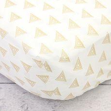 Caden Lane's white with gold triangle crib sheet. Love that this could be for boy or girl.